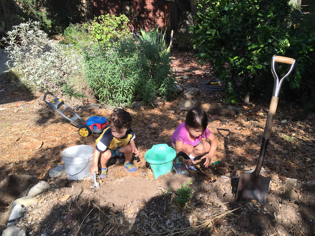 Kids helping me dig out raised vegetable bed. We have got a ways to go and my back hasn't been appreciating this kind of work.
